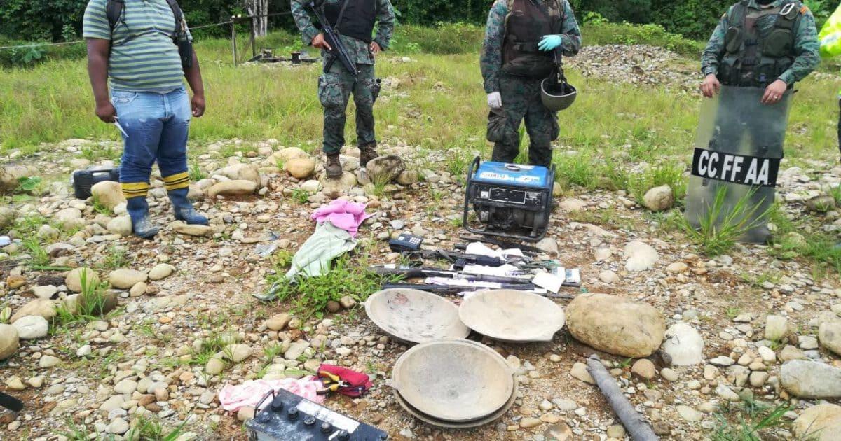Un campamento fue destruido en operativo contra la minería ilegal en zona fronteriza