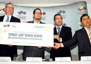 Lundin Gold realiza segundo pago de regalías anticipadas por US$ 20 millones